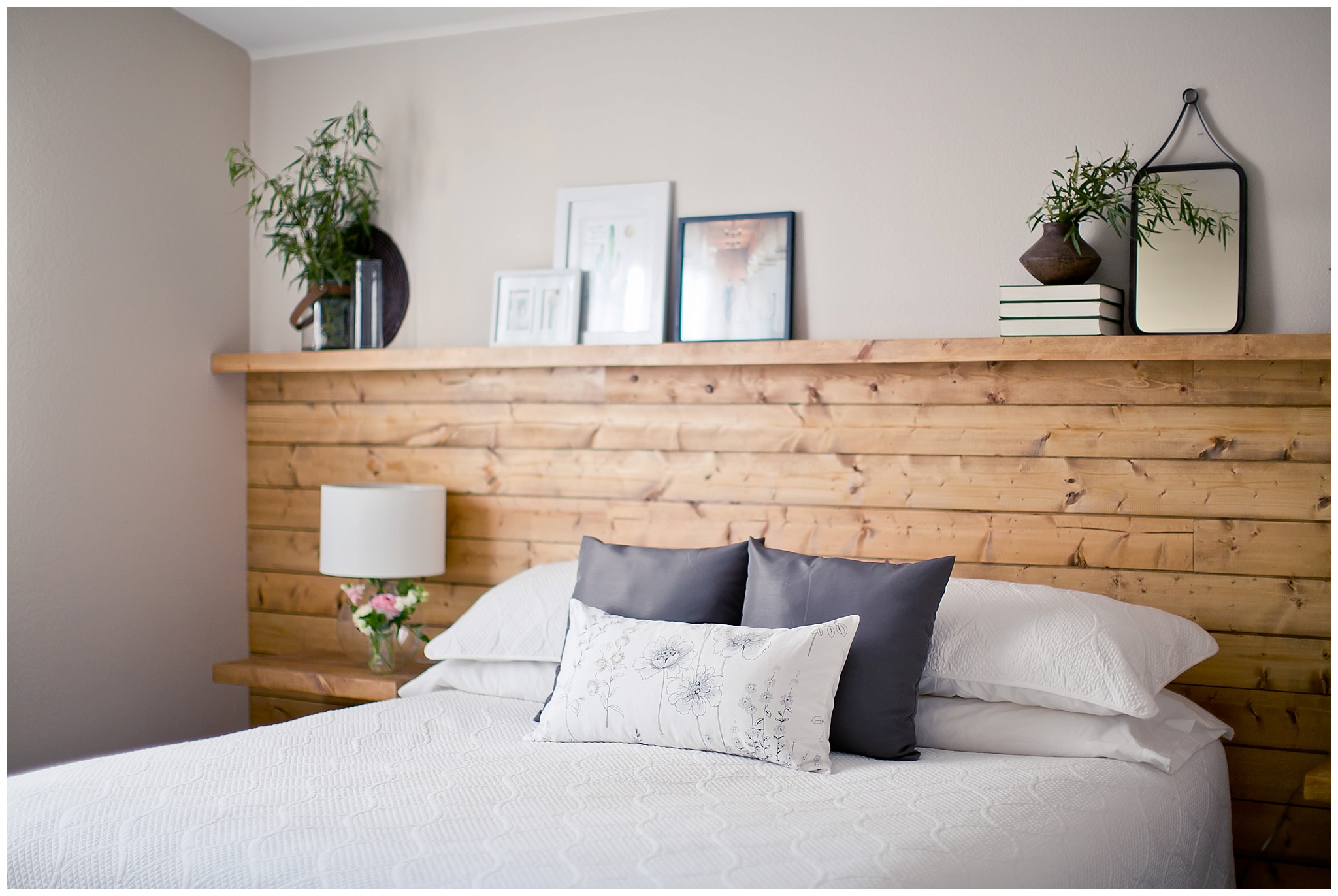 Natural Wood Shiplap Headboard Wall With Floating Nightstand Shelves By Jamie Zanotti Photo06